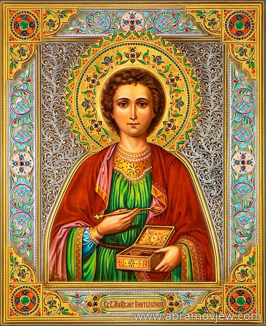 икона Пантелеймон целитель, серебряный оклад, серебро, купить, заказать, горячие эмали, филигрань, перегородчатая эмаль