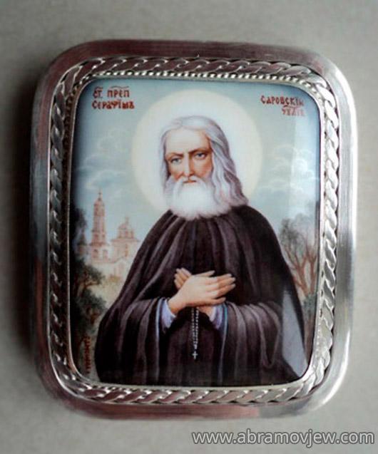 икона Серафима Саровского, серебряный ...: www.abramovjew.com/kupit/ikona_serafima_sarovskogo.php